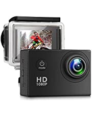 Action Camera, Full HD Camcorder 1080P Waterproof Cam 98ft Underwater 140° Wide-angle Sports Camera with Outdoor Mounting Accessory Kits