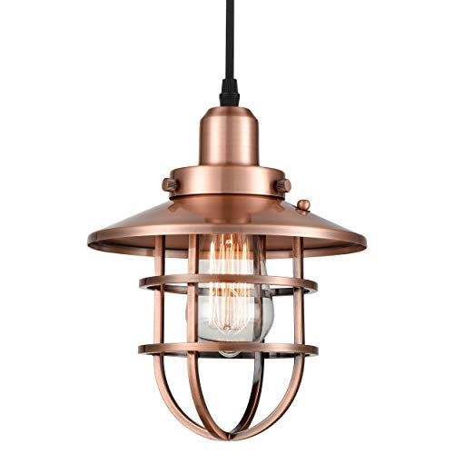 Copper Pendant Light (WILDSOUL 20021-AC Industrial 1-Light Mini Pendant with Metal Cage Shade, Vintage Metal Cage Pendant Light, Antique Copper Finish Modern Farmhouse Lighting Fixture)