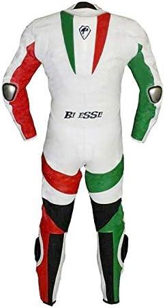Biesse Combinaison de moto int/égrale en cuir de vachette v/éritable id/éale pour /être utilis/ée par des professionnels sur les pistes Mod/èle tricolore XS Verde//Bianco//Rosso