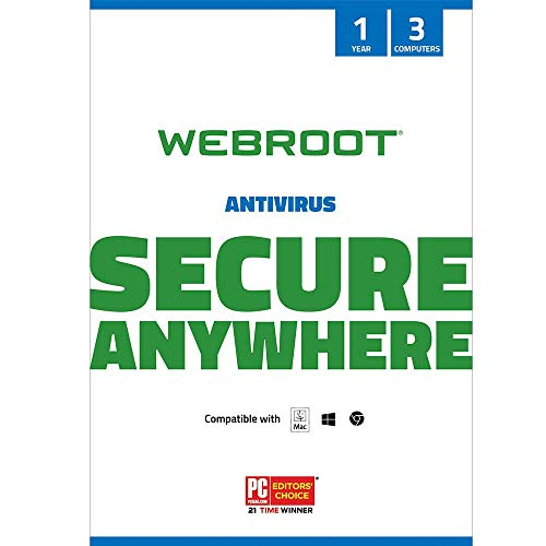 Webroot Antivirus Software 2021 | 3 Device | 1 Year | PC/Mac CD with Keycard | Includes Secure Web Browsing and Malware…