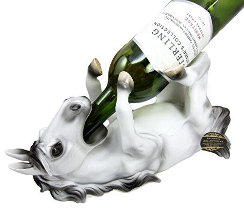 Atlantic Collectibles White Grey Sabino Equestrian Stallion Horse Wine Bottle Holder Caddy - Wagon Wine Holder