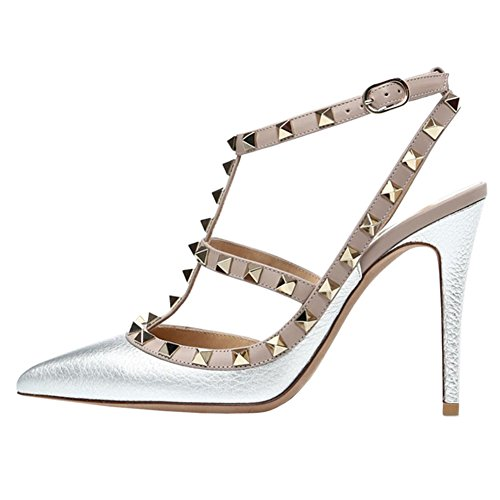 (VOCOSI Women's Slingbacks Strappy Sandals for Dress,Pointy Toe Studs High Heels Sandals Shoes Lines-Silver 9 US)