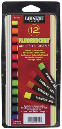 Sargent Art 32-2009 Gallery Oil Pastels, 7/16 x 3-1/4 Size, Assorted Fluorescent