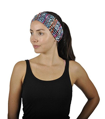 Slip Circles (Womens Sports Headband - Athletic Sweatband - Wide Nonslip Stretchy Headwear with Sweat Wicking Material for Running Yoga Crossfit Workout Fitness (Circles in Sky Blue Paled Turquoise and Watermelon))