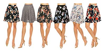 MoDDeals Skirts for Women, Mini, Skater, Flared, Mid Length, Stretchy, Casual, Dressy Knitted & Floral Prints