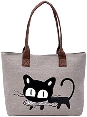 LuckES Moda Mujer Bolsa de hombro Lindo bolso de gato Bolsa de lona Oficina Bolsa del almuerzo Mujeres Large School Bag Bolsos totes Shopping Bag Canvas Bag ...