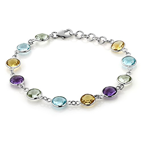 Gem Stone King 25.00 Cttw Checkerboard Cut Round 8MM Amethyst Topaz & Citrine Multi-Color Gem stone 925 Sterling Silver Tennis Bracelet