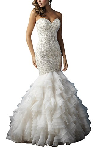 FairyBridal Strapless Layered Wedding Dresses Wedding Gown For Brides