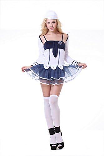 Vestido para mujer azul y blanco, manga larga, disfraz para ...