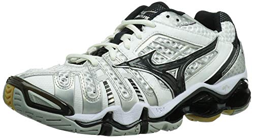 Mizuno Women's Wave Tornado 8 Volleyball Shoe,White/Black,7 M US