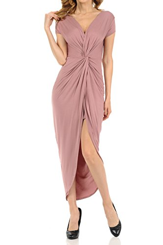 Auliné Collection Womens Deep Vneck Ruched Twist Flowy High Low Maxi Dress