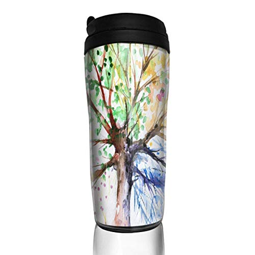 Custom Reusable Coffee Cup Tree Of Life Painting Tumbler Vacuum-Insulated Travel Mug Hot Or Cold,12 Oz.with Lids -