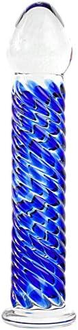 Glasdildo Doppel-Glas Penisnachbildung Sexspielzeug Standfuß Handarbeit Blau 15cm