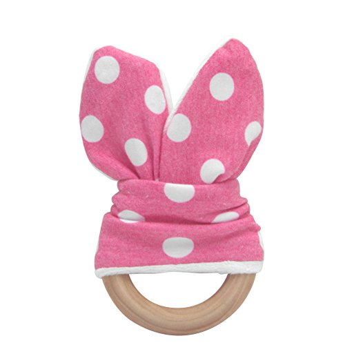 MEXUD Wooden Teething Toys Ring Teether Bunny Sensory Toy With Safety Handmade Wooden For Cute Baby (Hot Pink  White)