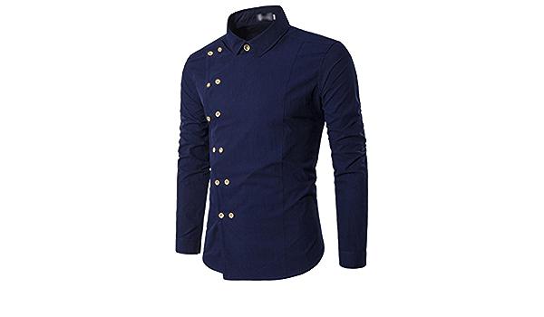 AiRobin Camisa de Manga Larga de Color sólido con Corte ...
