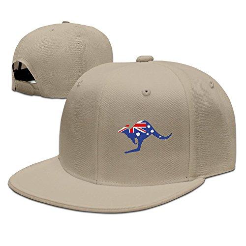 Custom Unisex Natural Adjustable Cool Australian Kangaroo Flag Snapback Flat Ove Hat One ()