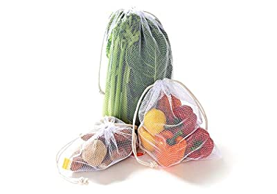 NZ Home Reusable Mesh Produce Bags, Cotton Drawstrings, See Through, Washable, Tare Weight, 5 Pack
