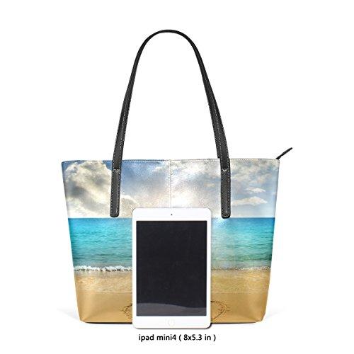 COOSUN Drawn Hearts In Beach PU Leder Schultertasche Handtasche und Handtaschen Tasche für Frauen