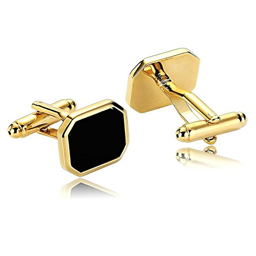 Aooaz Mens Cufflinks Vintage Polygon Polished Stainless Steel Cufflinks Gold Black Collar Dad Unique Jewelry Box Fancy Elegant