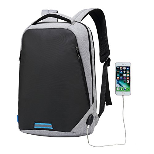 UBaymax Anti-Diebstahl Laptop Rucksack mit USB Anschluss für Schule,Uni,Business,Reisen,15,6 Zoll ,Größe: 31 * 46 * 14 cm,für Herren,Damen,Kinder,Canvas Wasserdicht (USB-Grau2)