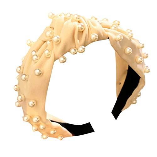 (Bravetoshop Cute Twisted Faux Pearl Tie Beading Women Wide Hair Hoop Velvet Headband Headwear Hairband(Beige))