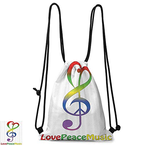 Swimming backpack 1960s Decorations Collection Love Peace and Music Clef Musical Notes Bass Old Sign Slogan Live Feeling Celebration Image W14