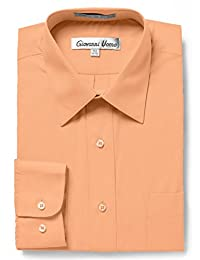 Giovanni Uomo Men's Traditional Fit Solid Color Dress Shirt