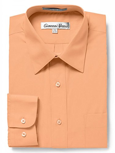 GIOVANNI UOMO Men's Traditional Fit Solid Color Dress Shirt Peach 16.5 32/33