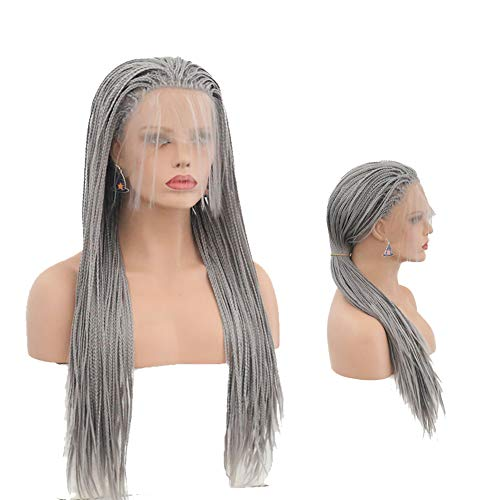 Hair Cap+26'' Braided Lace Wigs Ombre Grey Hair for Women Synthetic Heat Resistant Long Braids Wig Glueless Half Hand Tied (BZ-011 Silver Gray dreadlocks) ()