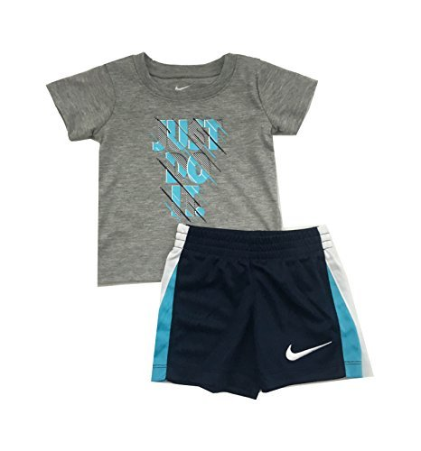 (Nike Just Do It Infant Boys Two Piece Tee Shirt and Short Set Dark Grey Heather/Navy Blue Size 18 Months)