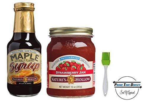 (Natures Hollow Sugar-Free Maple Flavored Syrup, 10 oz & Sugar-Free Strawberry Jam Preserves, 10 oz (Variety 2 Pack))