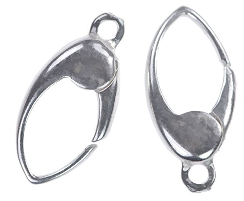 14mm Clasp - 2 Sterling Silver Oval No Trigger Clasps w/Ring 14mm x 6mm