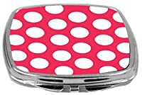 Rikki Knight Compact Mirror, Hot Pink Polka Dots