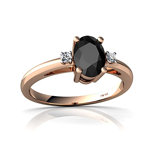 14kt Rose Gold Black Onyx and Diamond 7x5mm Oval Simply Elegant Ring - Size 5.5