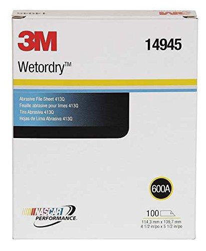 3M(TM) Wetordry(TM) Abrasive File Sheet 413Q, 14945, 4 1/2 x 5 1/2 in, 600A, 100 sheets per box Review