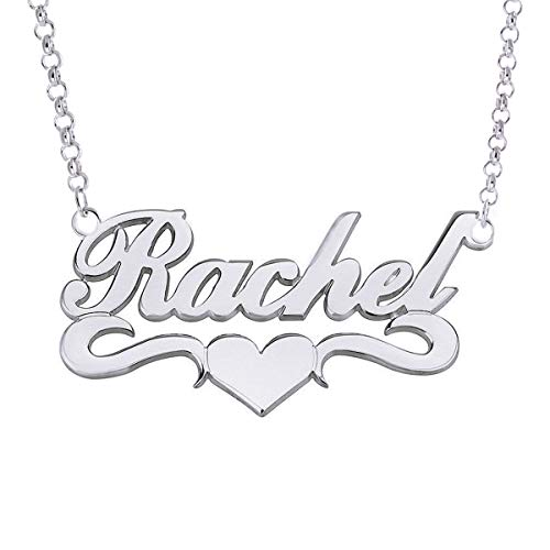 (HACOOL Personalized Names Custom Name Necklace Pendant in 18K Gold Plated Custom Made with Any Name Chain (White Gold Plated Copper))