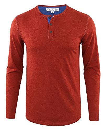 HARBETH Men's Regular Fit Long Sleeve Athletic Henley Shirt Active Jerseys Tee H.Rusty/H.Blue ()