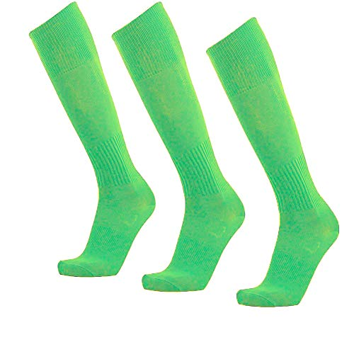 Unisex Athletic Knee High Breathable Compression Solid Tube Soccer Football Sport Socks 3/12 Pairs ... (Neon Green-Unisex 3 - Youth Football Solid Sock
