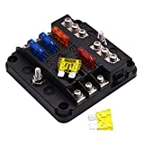 ONEVER 6-Way Blade Fuse Box - LED Indicator for Blown Fuse, Fuse Block Holder Screw 5A 10A 15A 20A Fuses for Automotive Car Marine Boat