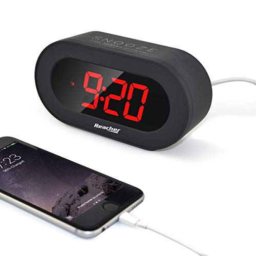 (REACHER Small Digital Alarm Clock with USB Port Phone Charger,Large Red LED Number, Simple Clock Easy Snooze and Time Setting Battery Backup for Desk,Bedrooms(Black))