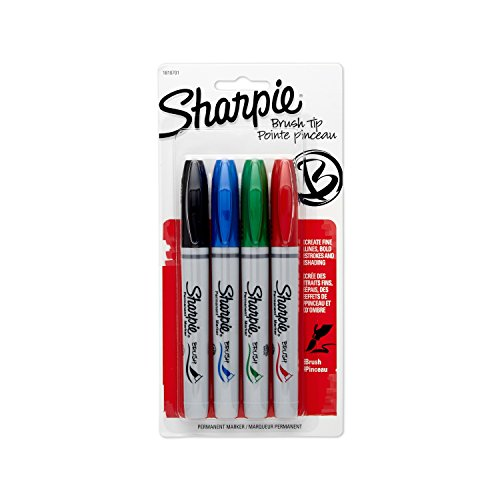 sharpie-1810701-brush-tip-permanent-marker-assorted-colors-4-pack