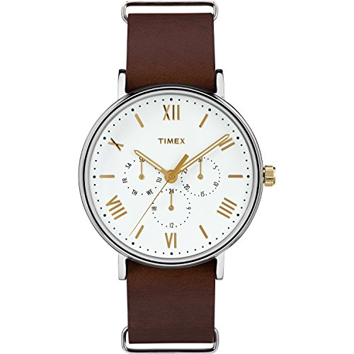 Timex Men's TW2R82500 Southview 41 Multifunction Brown/White Leather Slip-Thru Strap Watch