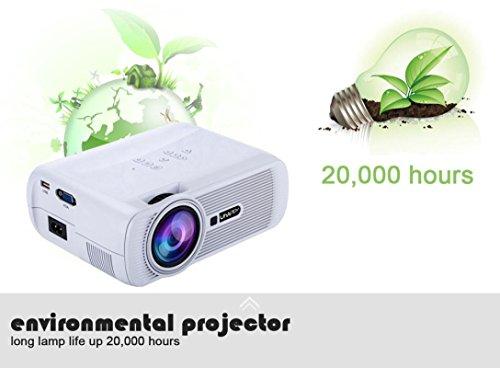 LED HD Micro Home Theater Projector ,Tuscom U80 1000lumens 1080P Multimedia Mini Portable HD Projector (White) by Tuscom (Image #4)
