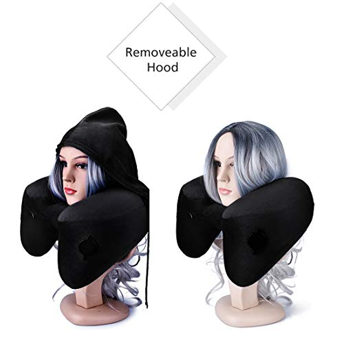 BESC Inflatable Travel Pillow for Airplanes - Multinational Traveling Neck Pillow Set with Hood for Women Men Kids - Soft Small Portable Supports Head Chin (Black) by BESC (Image #4)