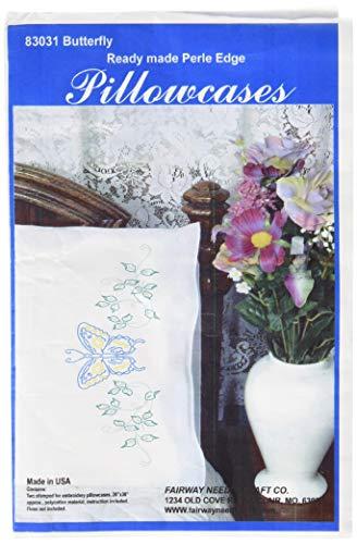 Fairway Needlecraft 83031 Perle Edge Pillowcases, Blue Butterfly Design, Standard, White