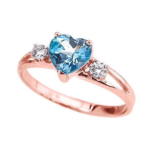 (Precious 10k Rose Gold December Birthstone Heart Proposal/Promise Ring with White Topaz (Size 4.5))