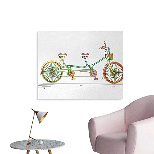 Tudouhoho Bicycle Poster Print Colorful Tandem Bicycle Design on White Background Pattern Clipart Style Print Photographic Wallpaper Multicolor W36 ()