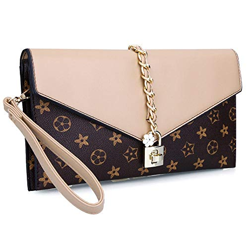 1 Apricot Handbag - Women Oversized Flower Designer Evening Clutch Handbag Evening Bag Wristlet with Lock (Apricot)