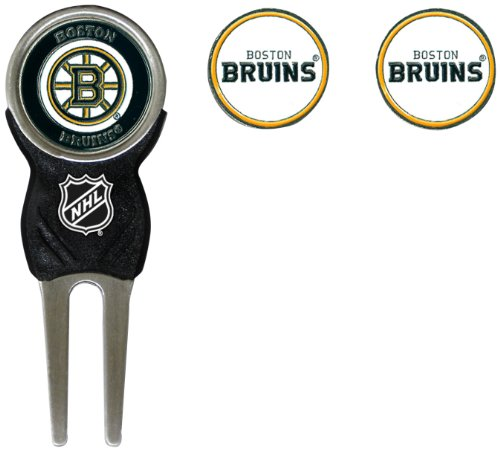 Team Golf NHL Boston Bruins Divot Tool with 3 Golf Ball Markers Pack, Markers are Removable Magnetic Double-Sided ()