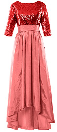 3 Dress Low Mother Sleeve 4 Red the Gown MACloth Evening Sequin High Women of Pink Bride Blush Cx8wOnqn5z